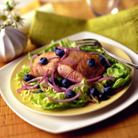 Salmon and Blueberry Salad with Red Onion Vinaigrette
