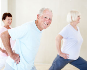 Senior Man at Exercise Class