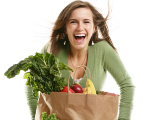 Happy Woman with Groceries