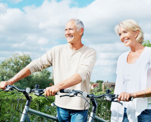 An Older Couple with Bikes