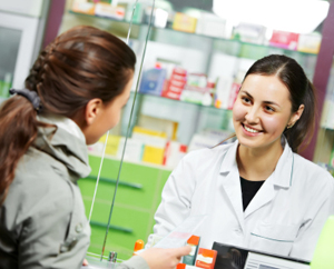 Customer speaking with pharmacist