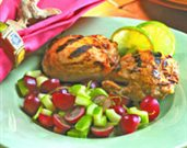 Grilled Honey Mustard Chicken Thighs with Grape & Lime Salsa