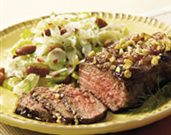 Walnut-Crusted Steak and Fennel Bean Salad
