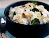 Cauliflower and Broccoli Gratin with Goat Cheese