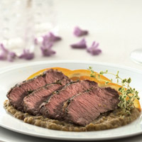 Lamb Loin with Eggplant-Orange Puree: Main Image