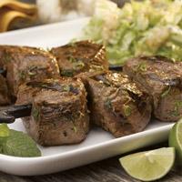 Lamb Pintxos with Wilted Napa Cabbage and Garlic-Mint Vinaigrette: Main Image