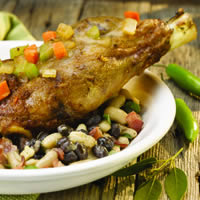 Braised Lamb Shank with Three Bean Ragout: Main Image