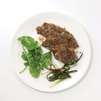 Broiled Provençal Lamb Shoulder Chops with Charred Scallions: Main Image
