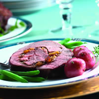 Caramelized American Lamb Roast with Apricot and Cranberry Stuffing: Main Image