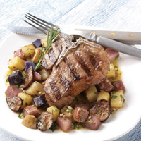 Grilled Lamb Chops with Marinated Potatoes: Main Image