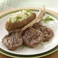 Grilled Lamb Lollipops with Twice-Baked Colorado Russet Potatoes and Fresh California Figs: Main Image