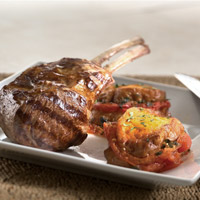 Grilled Double Lamb Rib Chops with Tomato-Bread Pudding: Main Image