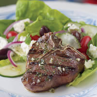 Herbed Greek Loin Chops with Feta Salad: Main Image