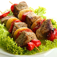 Honey-Glazed Lamb and Fruit Kabobs: Main Image