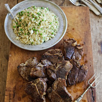 Lamb Loin Chops and Quinoa Salad with Peas, Feta, and Mint: Main Image