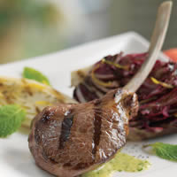 Lamb Rib Chops Scottadita with Grilled Radicchio and Endive: Main Image