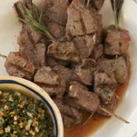 Grilled Lamb Skewers with Almond Salsa Verde: Main Image