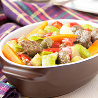 Lamb with Roasted Zucchini, Peppers, and Eggplant: Main Image