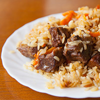 Mandarin Lamb Brochette with Orange Rice Pilaf: Main Image