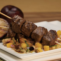 Moroccan-Spiced Lamb Kebobs with Summertime Fruit Chutney: Main Image