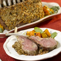 Pecan Crusted Rack of Lamb with Rosemary Balsamic Sauce: Main Image
