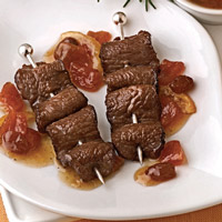 Pomegranate-Marinated Lamb Skewers with Persimmon Chutney: Main Image