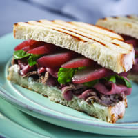 Roasted Lamb Sandwiches with Poached Pears and Goat Cheese: Main Image