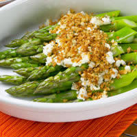 master.k.m.us.Asparagus Baked with Goat Cheese and Bread Crumbs Mushroom & Asparagus Noodle Bowl