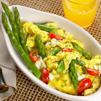 Fresh Asparagus Scramble with Herbed Cream Cheese & Tomatoes: Main Image