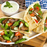 Grilled Lamb and Asparagus Pitas with Tsatsiki Sauce: Main Image