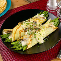 Asparagus and Mushroom Filled Crepes: Main Image