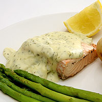 Broiled Salmon with Lemon Dill Sauce: Main Image