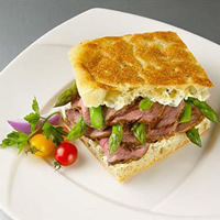 Lamb and Asparagus Sandwich with Caper-Herb Sauce: Main Image