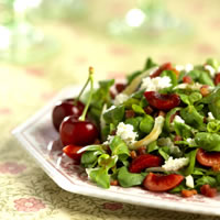 Mache Salad with Bing Cherries and Pancetta: Main Image