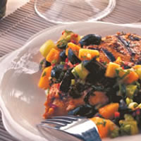 Grilled Floribbean Chicken with Tropical Olive Salsa: Main Image