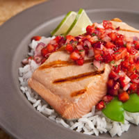 Grilled Salmon with Strawberry Ginger Salsa: Main Image