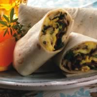 Bacon, Egg, and Mushroom Burritos: Main Image