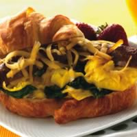 Spicy Sausage & Spinach Egg Croissants: Main Image