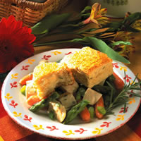 Chicken with Spring Vegetables & Parmesan Biscuits: Main Image
