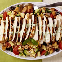 Warm Lemon Chicken over Panzanella Salad with Basil Aioli: Main Image