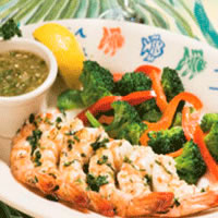 Grilled Shrimp Skewers with Cilantro and Green Tomatillo Salsa: Main Image