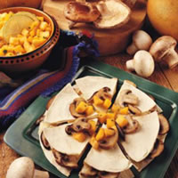 Mushroom & Brie Quesadillas with Mango & Papaya Chutney: Main Image