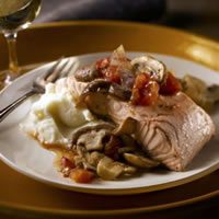 Provenal Poached Salmon Dinner with Mushrooms: Main Image