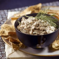 Warm Mushroom Dip with Baked Pita Crisps: Main Image