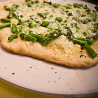 Asparagus, Asiago, and Fontina Cheese Pizza: Main Image