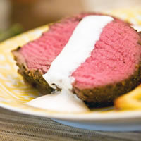 Herb Crusted Beef Tenderloin with Horseradish Cream Sauce: Main Image