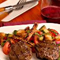 Mesquite Smoked American Lamb Chops with Garden Tomato, Rustic Panzanella Bread, and Basil Leaf Salad: Main Image