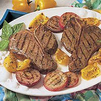 Beef Steaks with Parmesan-Grilled Vegetables: Main Image