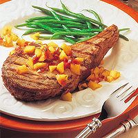 Citrus-Rubbed Veal Chops &amp;amp; Mango Salsa: Main Image