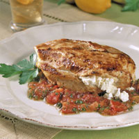 Feta Filled Chicken Breasts with Cumin, Tomatoes, and Mint: Main Image